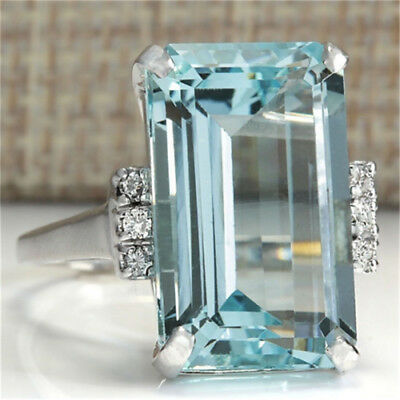 Huge 925 Silver Women Jewelry Aquamarine Gemstone Wedding Bridal Ring Size6-10