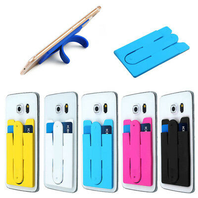 Durable Adhesive Stick Silicone Credit Card Holder Slot Stand For Smart Phone