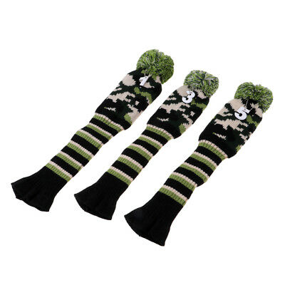 3Pc Vintage Golf Pom Pom Wood Knit Head Covers For Driver Fairway Wood Cover