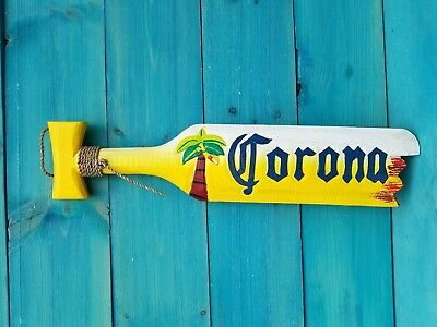 "Corona Beer Paddle 20"" Wood Hawaiian Decor Shark Tropical Beach Man Cave Oar"