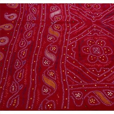 Sanskriti Antique Vintage Saree 100% Pure Silk Hand Beaded Craft Fabric Bandhani
