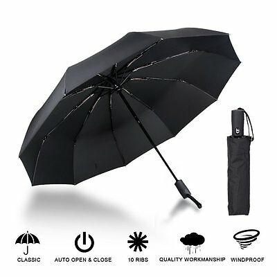 Black 10 Ribs  Compact Folding Umbrella Auto Open Close Waterproof Windproof