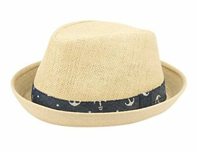 Fedora Hat for Boy Girl Toddler Kid Nautical Theme Adjustable Drawstring Natural