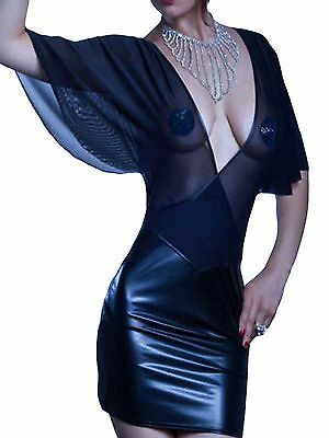 Latex Look Sexy Black See Through Mesh Top Low Front and Back Batwing Sleeves