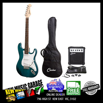 Casino St-Style Electric Guitar And 10 Watt Amp Pack With Bag Transparent Blue
