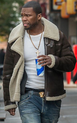 50 Cent Power Bomber Pilot Winter Flying Brown Suede Leather Fur Jacket