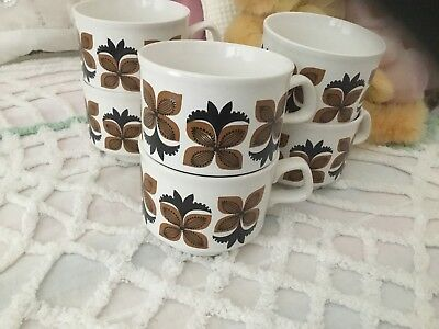 Vintage STAFFORDSHIRE POTTERIES Cups Tea Cups 6  RETRO