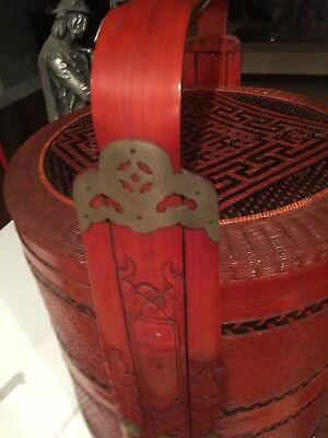 Early 1900s Red Chinese Weddding Basket Exc Condition 3 Tier Brass Appraised