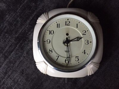 Smiths Sectric Art Deco White Bakelite Wall Clock - Untested for Repair