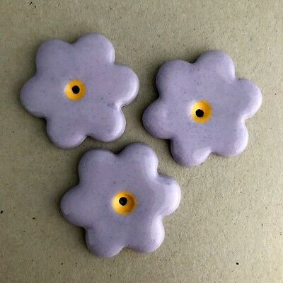 36mm CERAMIC FLOWERS (x3) - Lilac ~ Ceramic Mosaic Tiles