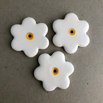 36mm CERAMIC FLOWERS (x3) - White ~ Ceramic Mosaic Tiles