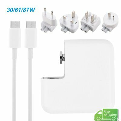30/61/87W USB-C Power Adapter Charger + USB-C to Type-C Cable for Apple Macbook