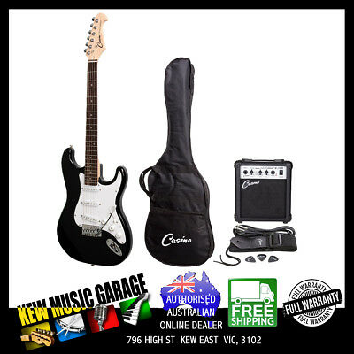 Casino St-Style Electric Guitar And 10 Watt Amplifier Pack With Bag Black