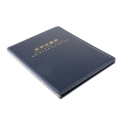 60 Pockets Paper Money Collection Album Stamps Book Leather Notes Gift Blue