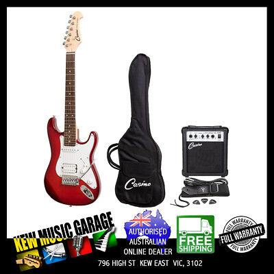 Casino St-Style 3/4 Size Electric Guitar And 10 Watt Amp Pack Trans Wine Red