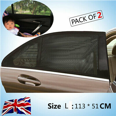 2x Car Rear Window UV Mesh Sun Shades Blind Kids Child Sleeping Sunshade Blocker