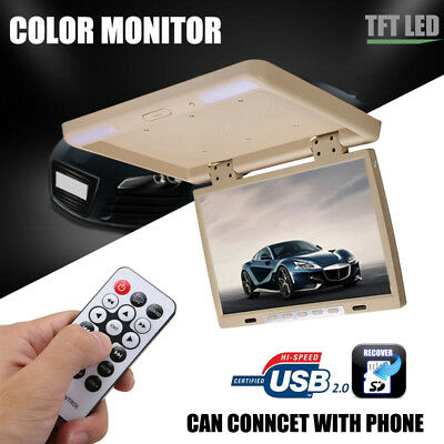 15.4'' LCD TFT HDMI Car Ceiling Flip Down Monitor Roof Mount Overhead Player USB
