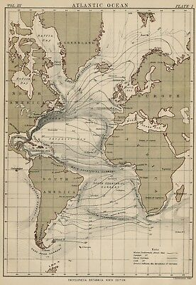 World maps maps atlases globes antiques page 20 picclick atlantic ocean authentic 1889 map showing major currents winter summer gumiabroncs Choice Image