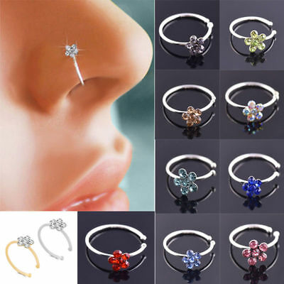 1pcs Fake Clip On Rhinestone Crystal Flower Nose Ring Nose Hoop Stud-No Piercing