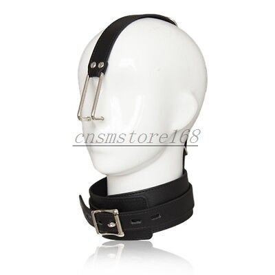 Stainless Steel Nose Hook PVC Faux Leather Neck Collar Slave Head Harness