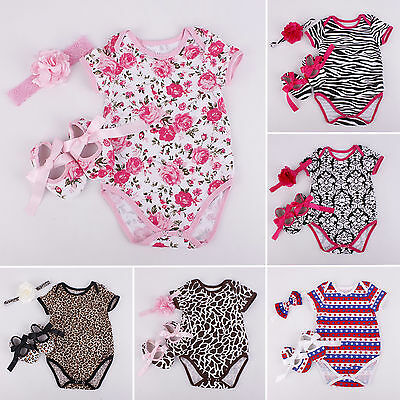 Newborn Baby Girls Cotton Romper Floral Jumpsuit Short Sleeve Outfits Set 3PCS