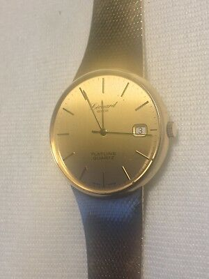 Leonard Geneve Herrenarmbanduhr, 585 Gold, Flatline Quarz, Datum,Swiss Made