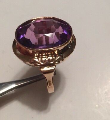 14k Solid Antique Rose Gold Purple Amethyst Ring -Large Beautiful Stone Art Deco