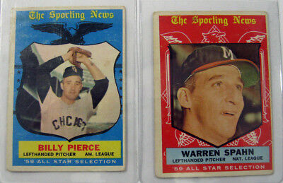 Nice Lot of (2) 1959 Topps Baseball Cards Average Condition Vg