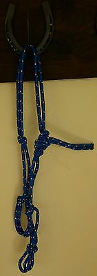 Handcrafted PONY Rope Halter BLUE - Horse Riding, Headstall, Equestrian