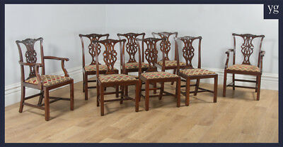 Antique Set 8 Eight Georgian Chippendale Style Solid Mahogany Dining Chairs