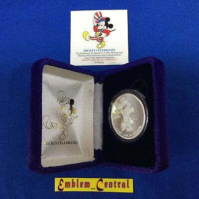 1991 Disney Mickey Celebrates America 1oz Silver Proof Coin From Rarities Mint