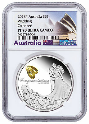 2018-P Australia Wedding Congratulations 1 oz Silver Proof $1 NGC PF70 SKU52807