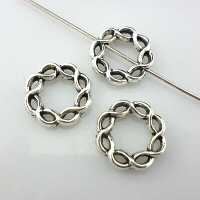 28/200pcs Twined Closed Jump Rings Spacer Beads 3x15mm Tibetan Silver Findings