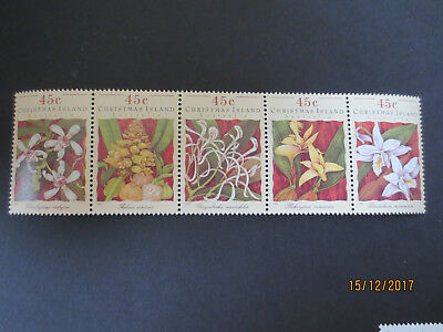 No--1-----1994-Christmas  Island -Orchids --Strips Of 5  Stamps  --Mint  --A1