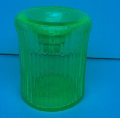 ca. 1860 early Ribbed Vaseline Glass Funnel Ink , Inkwell  RARE