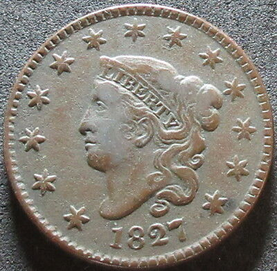 1827 Coronet Head Large Cent Coin