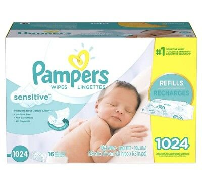 Pampers Sensitive Baby Wipes 1024 Count Perfume Free. FREE SHIPPING !!!!