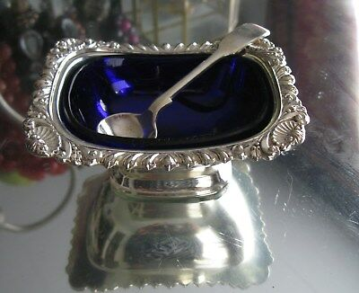 Beautiful Antique Complete  Silver Plate Cobalt Blueglass Lined Open Salt Cellar