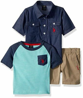 U.S. Polo Assn. Blue, Navy Boys' 3 Piece Khaki Short Set Size 4,5,6,7