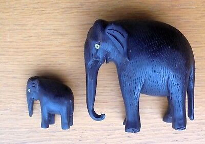 Antique Vintage Hand Carved Ebony Wooden Elephant Cow & Calf