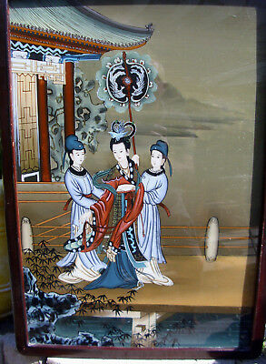 Vintage/antique very beautiful & attractive Chinese reverse painting on glass