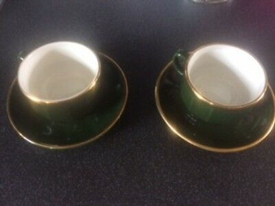 FRENCH APILCO Green and Gold Coffee Cups & Saucers - £0.99   PicClick UK