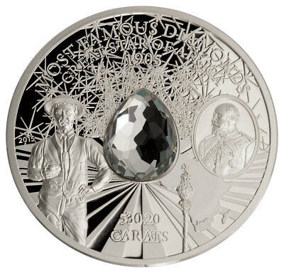 2015 CI Famous Diamonds Great Star of Africa 2 oz Proof Silver $5 Coin SKU47592