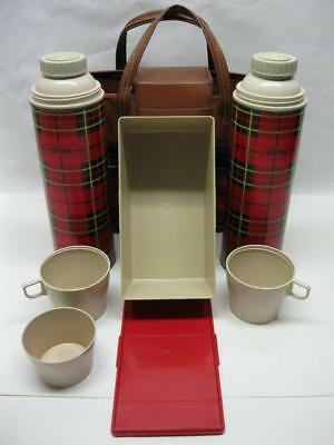 Vintage 1964 King Seeley Red Plaid 2~Thermos & Picnic Container Tote