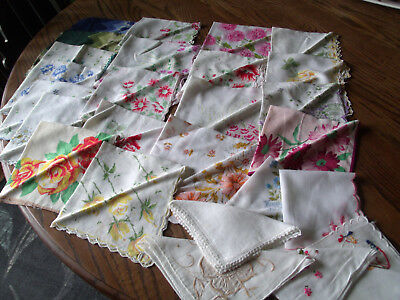 Vintage Women's Handkerchiefs- Printed Hankies,Embroidered- Lot of 26