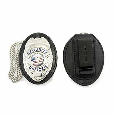 HP Universal Shield Leather Badge Holder for Belt or Neck Chain Police Security