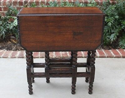 Antique English Oak Drop Leaf CARVED Edge Top Gate Leg BOBBIN TWIST Table PETITE
