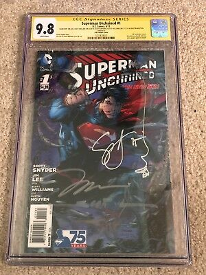 Superman Unchained 1 3-D Variant RRP CGC 9.8 SS signed Jim Lee +4
