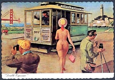 1960s SAN FRANCISCO NUDE WOMAN w/GOLDEN GATE BRIDGE & CABLE CAR~VINTAGE POSTCARD