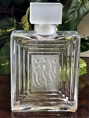 "Beautiful Lalique Clear & Frosted Crystal ""Duncan"" #2 Perfume Bottle, #11380"